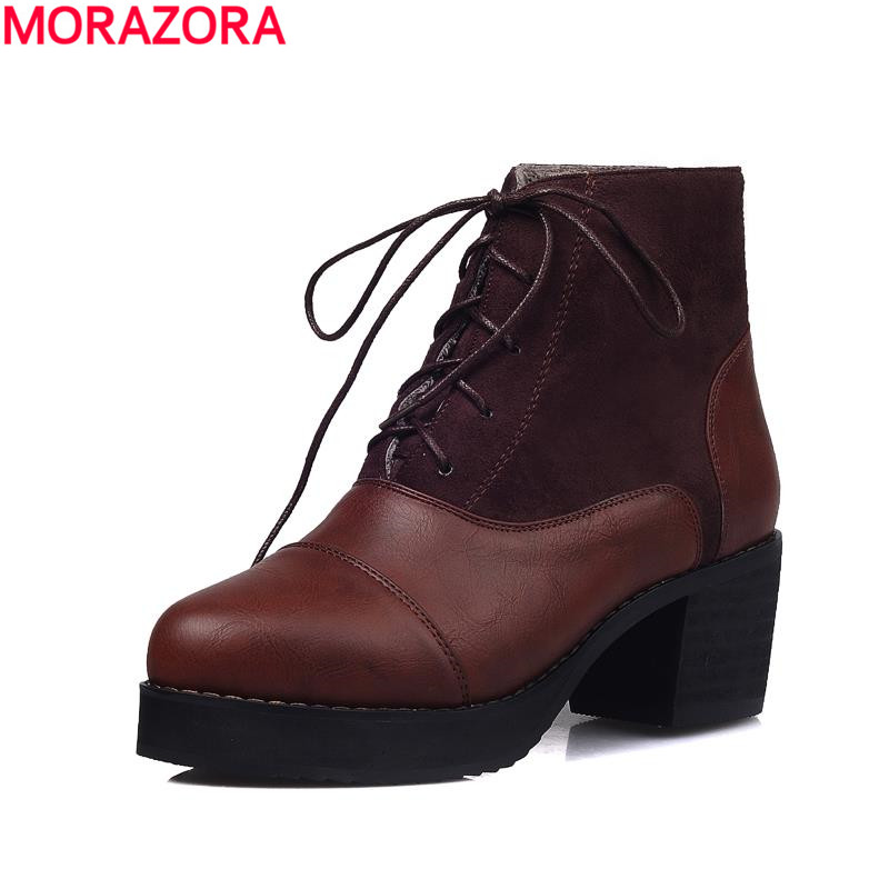 spring autumn 2017 new arrive  lace-up round toe platform ladies dress shoes woman thick med heels shoes ankle boots for women<br><br>Aliexpress