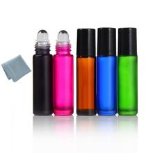 8pcs 10ml Roll on Thick Glass Bottle Stainless Steel Roller Ball Essential Oils Perfume Bottle with Metal Ball and Plastic Lid(China)