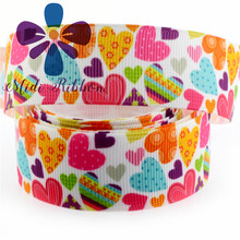 6mm-75mm Valentine Colorful Love Heart Grosgrain Ribbon/foe 50y/lot diy Hair Bow Clip Gift Webbing Accessory MD170621-75-7607(China)