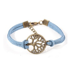 H:HYDE New Vinatge Bronze Life Tree Bracelet For Men 5 Colors PU Leather Handmade Bracelets Female Fashion Party Jewelry Gift