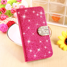 Glitter Diamond PU Leather Cell Phone Housing For LG Google Nexus 4 Cases E960 Nexus4 Covers Magnetic Holster Stand Flip Shell