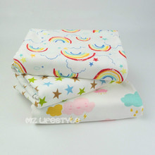 Buulqo 50*170cm Printed Stars and Clouds  cotton knitted jersey fabric for  DIY baby  clothing underwear making cotton fabric