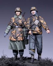 1/35 WW2 Battle of the Bulge the Germans soldiers 2 people WWII Resin Model Kit figure Free Shipping