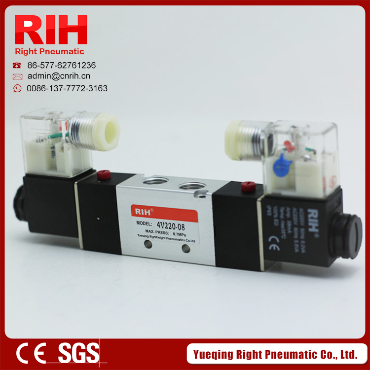 RIH 1/4 4V220-08 5 Ways 2 Positions Air Control Solenoid Valve Dual Head<br><br>Aliexpress