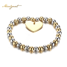 Meaeguet Womans Balls Bead Bangle Stainless Steel Love Heart Cross Charms Stretch Bracelet Best Friendship Gift Wedding Party