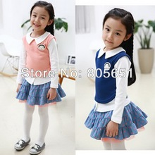 Toddler Little Girl Daily Leisure Outfits Long Sleeve Top Shirt Skirt Dress 2-7 Years School Uniform Birthday Party Gift Casual