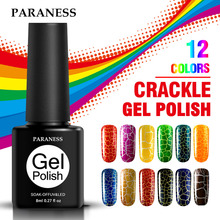Soak Off Nail Polish 8ml Semi Permanent Professional Cracking Nail Gel Varnish Need UV Led Lamp 12 Colors Crackle Gel Lacquer(China)