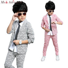 Boys Suits 2017 Spring Autumn New Style Children Kids Wedding Clothes 2 Pieces Sets Pink Grey Blue Fashion Outfits(China)