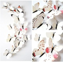 12pcs Single Layer Wall Stickers PVC Magnet Butterflies DIY Wall Sticker For Kids Room Home Decor Colorful Stickers D315(China)