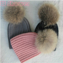 15cm Real Raccoon Fur Pompon Kids Boy Girl Winter Hat Beanie Children Genuine Fur Hat Thick Warm Knitted Wool Ski Cap With Ball