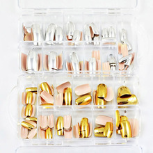 70pcs/set Nail Art Display Full Cover False Nail Tips Silver/Gold Metal Fake Nails Extension Decorated Manicure Accessories