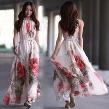 Buy New Chiffon Long Beach Dress Women Sexy Floral 2018 Summer Boho Maxi Dresses Halter Casual Elegant Dresses Vestido