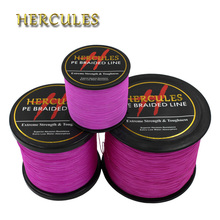 Hercules Pink PE Braided Fishing Line Multifilament Fishing Cord Strong 4 Strands 100M 300M 500M 1000M 1500M 2000M Fishing Line(China)