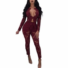 V-Neck Full Sleeve Top Long Pant Two Pieces Suits Autumn Bodycon Allover lace Outfits Sexy Fashion Women Hollow Out 2 pics Sets(China)