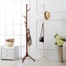Creative fashion multicolor wood Coat and Hat Wooden Rack Floor coat hanger with 8 Hooks for Clothes Coat and Hat Rack Stand