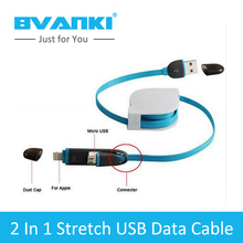 [Bvanki 2 IN 1 ] 10Pcs/Lot best products for import Retractable colorful micro usb and mfi 8pin usb 2 in1 retractable usb cable