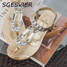 SGESVIER gold silver color women sandals 3.5cm wedges heels shining crystal decorated  woman sandals elastic band shoes VV244