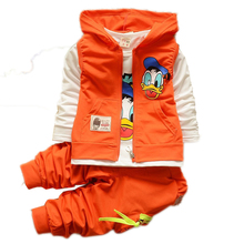 Toddlers Boys Clothes Suits Cartoon Donald Duck Baby Kids Boys Outerwear Hoodie Jacket Baby Sport Minnie Clothing Sets Suits