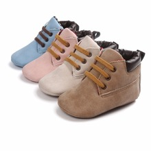 All Seasons Flock Lace-up Baby Shoes Infant Toddler Sneaker First Walkers 0-15 Months Newborn Baby Boots