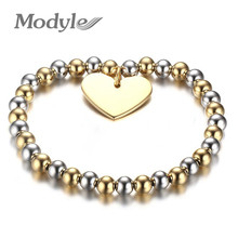 Modyle Womans Balls Bead Bangle Stainless Steel Love Heart Cross Charms Stretch Bracelet Best Friendship Gift Wedding(China)