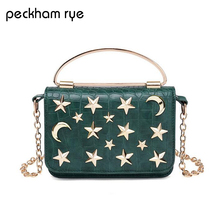 PECKHAMRY Pu Leather Women Messenger Bag Plaid Ladies Crossbody Bag Chain Trendy Stars Small Shopping Daily Shoulder Bag