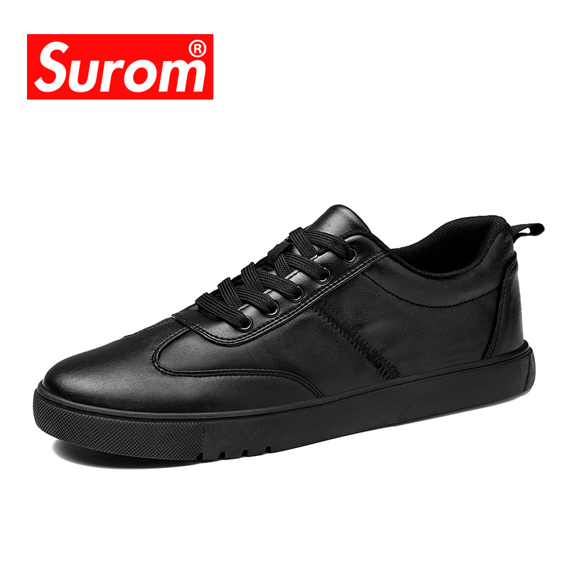 SUROM Mens Shoes Casual Hot sale 2018 Spring New Flats Heel Krasovki Black White Leather Sneakers Lace up Moccasins For Men<br>