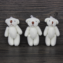 H-6cm cream white lovely Mini Stuffed Jointed Bear Gift Flower Packing Teddy Bears 100pcs/lot(China)