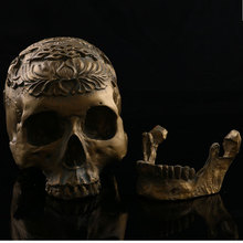 Bronze Skull Head 1:1 Life Size Hand Made Decoration Collection Home Decor High Quality Crystal Cranium Skull Model