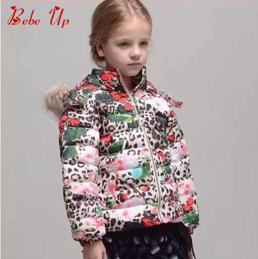GIRLS WINTER JACKETS COAT WITH LEOPARD FLOWER PRINT, KIDS CLOTHES WINTER 2017, TODDLER FASHION BRAND COAT WITH HOOD FUR<br>