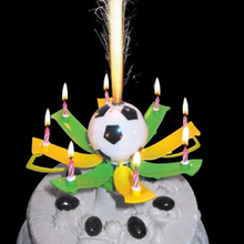 Best Sale 1pc Musical Football Cup Flame Happy Birthday Cake Party Gift Lights Decoration Candles Lamp Surprise V4060