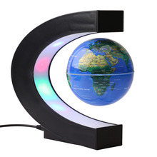 C Shape Colored LED World Map Magnetic Levitation World Light Globe Map For Home/Office Desk Decoration AU EU Plug(Hong Kong)