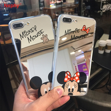 Nephy Minnie Mickey Mouse Mirror Case for iPhone 6 s 6S X 10 7 8 Plus 6Plus 6sPlus 7Plus 8Plus SE 5S Cover silicone Slim Housing(China)