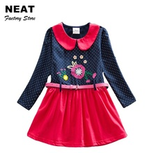 4-8Y Retail Girls Dresses Flower Frocks Clothes Princess Long Sleeve Baby Clothes Kids Party Halloween Dresses Neat Cloth LH6869(China)