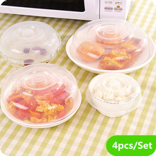 4Pcs/set Microwave Food Cover Plate Vented Splatter Protector Clear Kitchen Lid Safe Vent Dishes Dust Cover kitchen Accessories