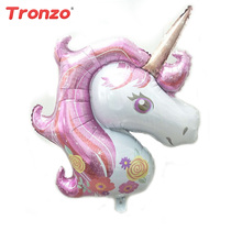 Tronzo 117cm 39Inch Unicorn Balloon Happy Birthday Wedding Decoration Tropical Party Supplies Cartoon Ballons for Gift(China)