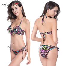 SWIMMART 2017 Sexy Bikinis Women Swimsuit Bodysuit Bikini Set Printed Tassel  Steel Hard Cups Undismantled Chest Pad DM070
