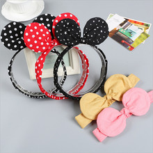 2017 Minnie Mouse Ears girls kids headband hair head band wrap accessories for children hair ornaments turban headwrap headdress(China)