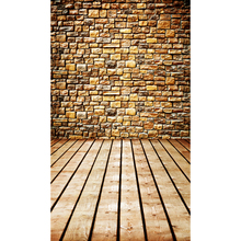 Customized vinyl print stone wall wood floor photography backdrops for model photo studio portrait background F-1568