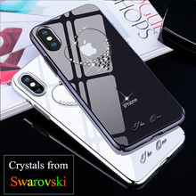 KINGXBAR for iPhone X / 10 Case Crystals From Swarovski PC Hard Crystal Diamond Rhinestone Case for iPhone X Cover Coque Funda(China)