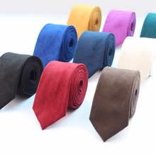New Fashion Solid Micro Suede Ties Groom Leather Necktie Mens Plaid Soft Cravat For Men Butterfly Gravata Male Wedding Tie(China)