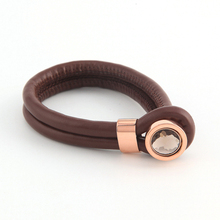 Luxurious Design (2 pieces) Mi Coin Armband Cambio Brown Lambskin Bracelet(China)