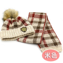 pompoms boys warm knitted hat scarf set children new 2016 winter fashion kids boy plaid print 2 pieces sets christmas gift(China)