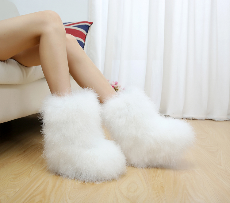 Ostrich Hair Snow Boots Women Winter Warm Fur Plush 2018 Fluffy Fashion Ankle Fashion Home Furry Sweet Ladies Shoes Feather Hot