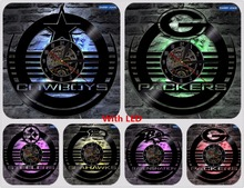 Green Bay Packers Steelers Seahawks Cowboys Baltimore Ravens Football Team Vinyl Clock Record Light Decor Lamp Handmade(China)