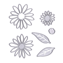 6Pcs/set Chrysant Flower with Leaves Metal Die cutting Dies For DIY Scrapbooking Photo Album Decorative Embossing Folder(China)