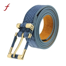 Newly Design Fashion Female Woman Blue Leather Waist Belt With Metal Buckle July14(China)