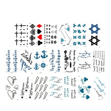20 sheet Men And Women Fake Tattoo Cross Heart Letter Design Body Art Flash Waterproof Temporary Tattoos Stickers