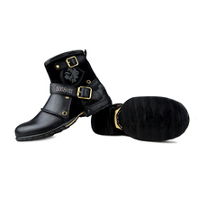 Real Shooting OTTO Fashion Top Quality Handmade Genuine Cow Leather Rivet Boots Martin Boots Leather Shoes Plus Size