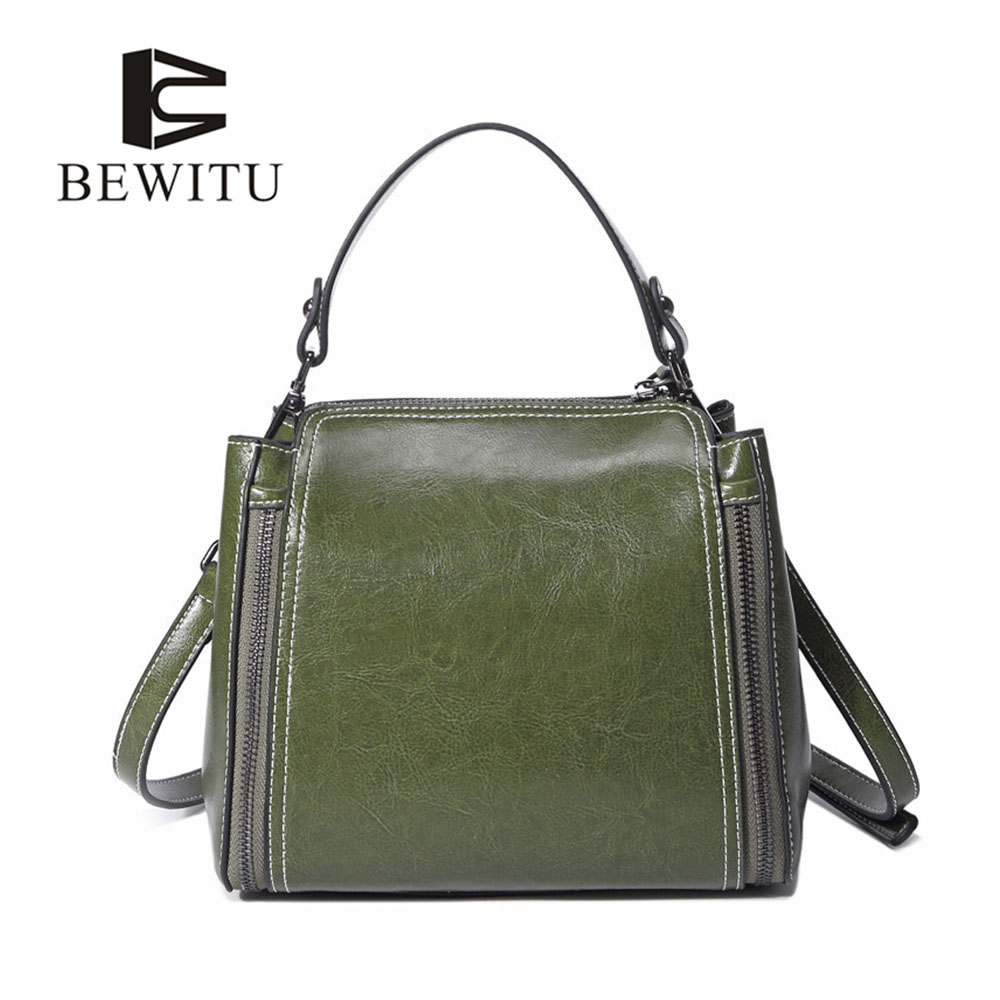BEWITU Hot Sale Women Genuine Leather Handbag Women Solid Zipper Leather Handbag Oil Wax Cowhide Solid Color Shoulder Bags<br>