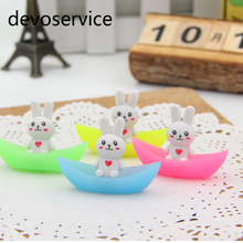 4Pcs Novelty Cute Rabbit Ship Luminous Rubber Eraser Kawaii Stationery Pencil Erasers School Supplies Papelaria Gifts For Kids(China)